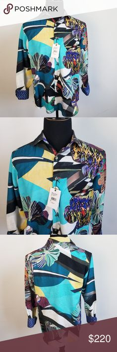 Men/'s Casual Floral Printed Dress Shirt Cotton Blend #622 Black Blue Brown