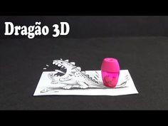 Desenho de dragão 3D | Desenho que frita seu cérebro | Drawing Optical I...