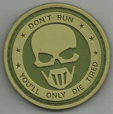 DON'T RUN GHOST OD ISAF COMBAT TACTICAL BADGE MORALE PVC VELCRO MILITARY PATCH