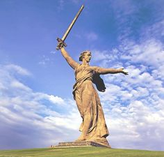 This statue, also known as 'The Motherland' is located in Volgograd, Russia. It is a commemoration of the Battle of Stalingrad. It is the largest non-religious statue standing at 279 feet. The sword is about 105 feet in length.