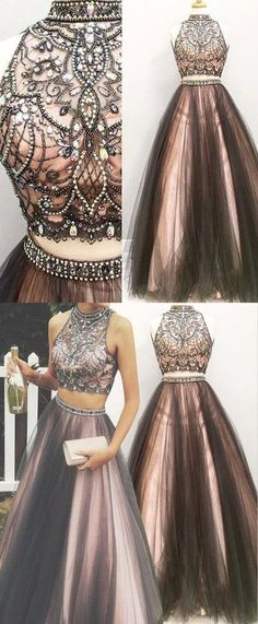 Two pieces A line prom dresses, Beaded prom dress, 2017 Tulle prom dress, dresses for prom, Long prom dress, 16156