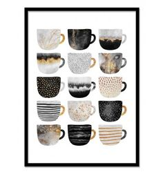 Art-Poster 50 x 70 cm - Pretty coffee cups - Grey series - Elisabeth Fredriksson - Geometric Design Illustration. Art-Poster and prints published by Wall Editions.