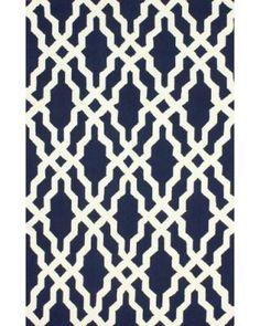 nuLOOM Handmade Wool Moroccan Trellis Navy Blue Rug (3 6 x 5 6)