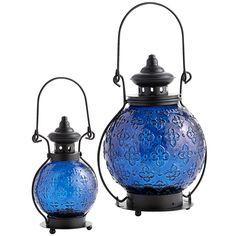 Medallion Gl Lanterns Blue Outdoor Hanging Candles