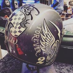 "374 Likes, 25 Comments - Brusco (@brusco) on Instagram: ""Time for colors... #brushes #helmet #biltwell #signpainter #1shot #handpaint #handmade…"""