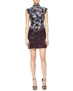 MONIQUE LHUILLIER Floral Embroidered Guipure Lace Dress Plum $5500 (Compare at $6000 elsewhere) ANNE'S at THE TRUMP BUILDING NYC  annesofnewyork.com
