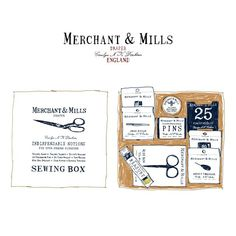 Merchant & Mills #illustration . Classic sewing box set of Merchant & Mills a beautiful printed box which is completed with selected useful notions.  _ 클래식하고 빈티지한 영국 브랜드 Merchant & Mills의 텍스타일 툴이 들가득한 앤틱한 #sewing box. 바느질도 못하면서 괜히 갖고싶은 이유는? by moreparsley