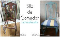 No os perdáis el espectacular cambio que ha experimentado esta silla de comedor, que ha sido pintada y retapizada.