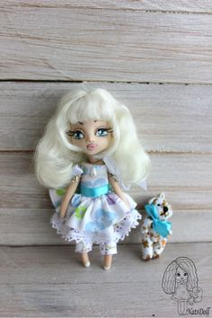 Clay doll with bear Art clay doll OOAK Art Doll  by NatsDoll