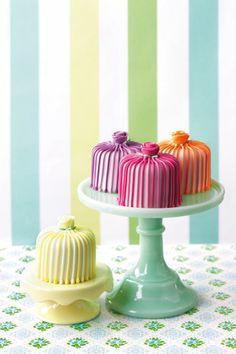 Striped Rainbow Mini Cakes by Fancy Nancy