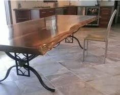 Live Edge Table With Wrought Iron Base Handcrafted By Woodland Creek  Furniture Is Custom Sizes To Fit Your Home.