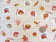 Japanese Small Cupcake Sweets Gingham Tan by luckykaerufabric, $7.50