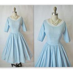 50's Baby Blue Ensemble // Vintage 1950's New Look Blouse Skirt Dress Set XS. $68,00, via Etsy.