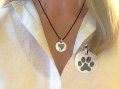 Island Paws Studio - Paw Love + (Tail Hug) necklace.  Generic paw print on one side and a stylized heart with a tail hug on the reverse.