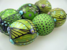 Moogin Beads- CLEARANCE - Detailed abstract round lampwork / glass bead set   - SRA by mooginmindy on Etsy