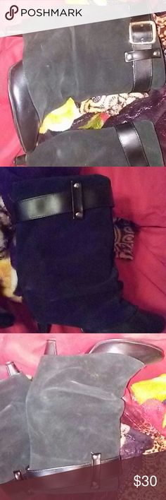 """Folded Buckles Boots Leather and suede.worn 3/4 times. 3"""" heels.silver hardware. Andrea Shoes Ankle Boots & Booties"""