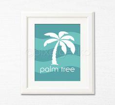 Palm Tree  Aqua and Teal Nursery Art Print  8x10  by pixelgecko, $14.90