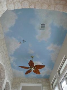 Clouds hand painted on the ceiling - Leslie Michaels Murals ...