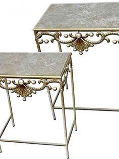 santotini nest of tables Cream Living Rooms, Home Additions, Vanity Bench, Drafting Desk, Santorini, Metal Art, End Tables, Nest, House