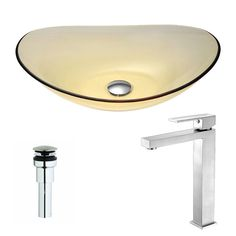 Anzzi Mesto Series Lustrous Translucent Gold Deco-Glass Vessel Sink with Enti Brushed Nickel Faucet (Lustrous Translucent Gold Finish), Yellow