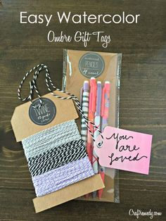 Easy DIY Watercolor Ombre Gift Tags