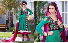 Green and Pink Net Salwar Kameez aetb10243 Price: $100 Beautiful Green and Pink Net Salwar Kameez embellished with zari, resham embroidery with stone work and patch patta work.  Salwar Kameez comes with Pink santoon bottom and Pink chiffon dupatta. This Unstitched Suit Fabric has maximum bust size of 42 inches.  For customized please submit your measurement at info@auraexclusive.com
