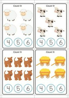 11 Math Centers - Farm {Pre-k & Kindergarten} 111 pages in total. Lots of hands on games and activities to make learning FUN! A page from the unit: Count the objects and clip a peg on the number to show your answer.