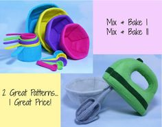 Felt Hand-held Mixer, Bakeware Bundle Sewing Patterns. What a sweet deal...2 great patterns, one great price! With this specially priced listing,