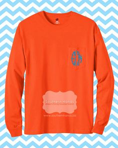 Monogram Pocket Tee Long Sleeve by SouthernHandsLLC on Etsy. , via Etsy.