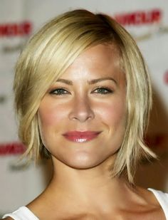 square faces hairstyles for short hair - line the side bangs, would want a little longer