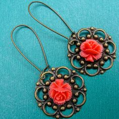 CORAL ROSE earrings on French wires. $7.00.  Love these   :)