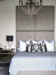 Upholstered Headboard » very black, white, and grey chic.