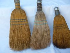 """3 Vintage Straw Hand Whisk Wisk Brooms Wire Wrap Metal Cap 9"""" to 10"""" 