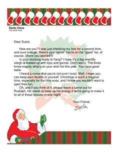 ... | Letter from santa, Free letters from santa and Printable letters