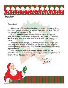 Santa Letter   Letter From Santa    Letters Santa