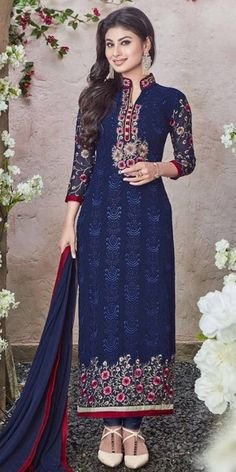 Stunning Navy Blue Georgette Salwar Suit.