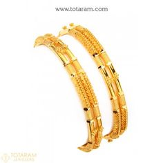 22K Fine Gold Bangles - Set Of 2 (1 Pair) - 235-GBL1207 - Buy this Latest Indian Gold Jewelry Design in 44.850 Grams for a low price of  $2,377.20