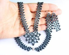 Tatted Lace necklace and earrings grey tatting by LaceLadyOla, $88.00