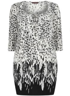 Monochrome is going to be everywhere this SS13 - try the Monochrome Feather Print Tunic.