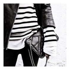 ESSENTIALS / Striped tee, leather jacket, black skinnys and a crossbody bag. #done #essentials #fashion