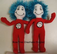 Would like a pattern if anybody has one.  :-)  Dr. Seuss Thing One and Thing Two Crochet Dolls