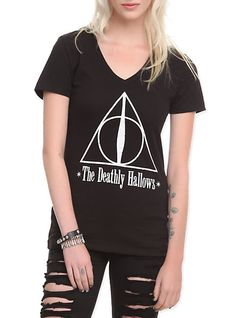 Harry Potter Deathly Hallows Girls T-Shirt from Hot Topic. Saved to Epic Wishlist. Under Armour, Harry Potter Deathly Hallows, Harry Potter Outfits, Fandom Fashion, Womens Fashion Casual Summer, Simple Shirts, Hot Topic, V Neck Tee, T Shirts For Women