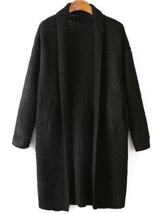 Pockets Solid Color Collarless Long Sleeve Cardigan