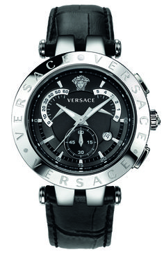 The Versace V Race 42mm Black Deal watch. The V-Race has a sporty style with a strong personality. #VersaceWatches #Versace