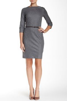 NWT Theory Jism in Heather Grey Feather Flannel Wool ¾ Sleeve Shift Dress 4 $295 #Theory #Shift #Casual