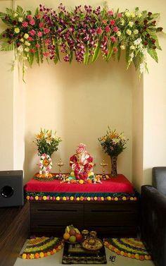Home decoration lord ganesha Ganpati Decoration Theme, Mandir Decoration, Ganapati Decoration, Diwali Decorations, Festival Decorations, Flower Decorations, Diy Flowers, Housewarming Decorations, Wedding Decorations
