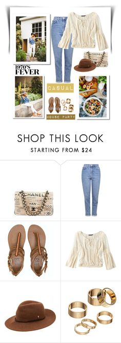 """""""Casual House Party"""" by conch-lady ❤ liked on Polyvore featuring Chanel, Topshop, Billabong, American Eagle Outfitters, Helen Kaminski and Apt. 9"""