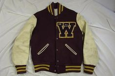 Vtg Lasley University of Wyoming Cowboys Letterman Jacket Wool & Leather Custom Letterman Jacket, Letterman Jackets, Yellow And Brown, Western Outfits, Rockabilly, Preppy, Sweater Cardigan, Knitwear, Bomber Jacket