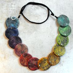 Fanciful Artisan Polymer Clay Necklace Retro by MargitBoehmer