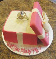 Engagement Cake, Will You Marry Me Cake, Wedding Proposal Cake, Diamond Ring Cake